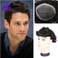 Brazilian men's toupee full lace human hair wigs short natural hair replacement for men 8x10 inch PU thin skin mens toupee wigs