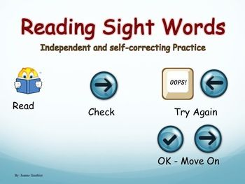 "This interactive Powerpoint helps your students independently practice reading Kindergarten and Grade 1 high frequency words starting with the most basic ones such as ""the"" or ""and"" and by the end moving on to words such as ""does"" and ""couldn't"". It contains 135 slides (116 individual high frequency word slides and 19 sentences slides), all with audio for the students to listen to after they have read a word or sentence, allowing them to self-correct mistakes."