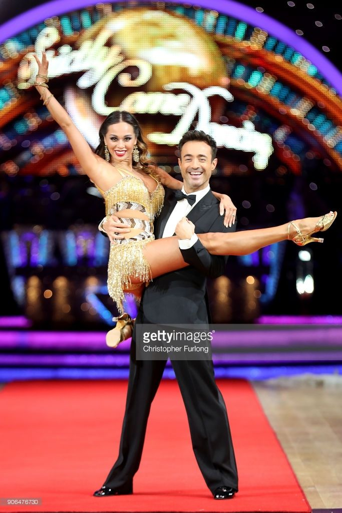 Joe McFadden (R) and Katya Jones attend the 'Strictly Come Dancing' Live! photocall at Arena Birmingham, on January 18, 2018 in Birmingham, England. Ahead of the opening on 19th January 2018. The live show will be touring the United Kingdom until 11th February 2018.