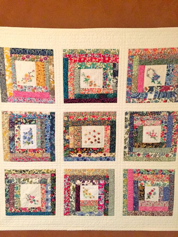 Handmade baby quilt with liberty of london fabric and