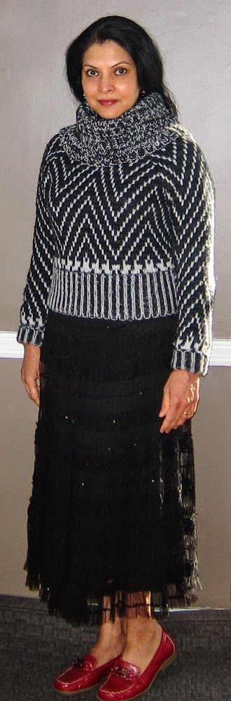 CK Calvin Klein wool sweater, Maxstudio lace skirt and Aerosoles loafers - 2017