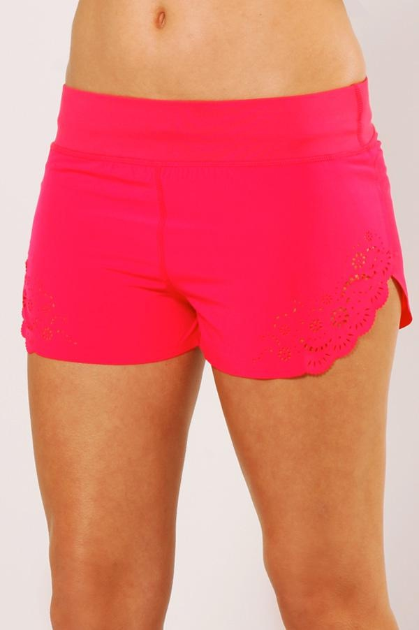 Hot pink shorts with cute scallop cut-out detailing 'Divine Short' - Lorna Jane