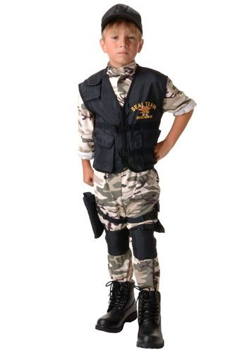 He's cleaned up his room. He's made his bed. Now he's ready to wear this child SEAL team costume and take on a really dangerous mission for the Navy.