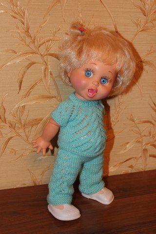 "Мастер-класс ""Кофточка и штанишки спицами для кукол Galoob Baby Face""   KasatkaDollsFashions - вязаная одежда для кукол   ВКонтакте"