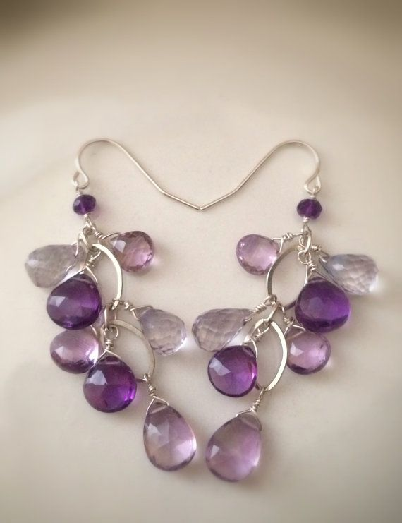 Faceted Amethyst Sterling Silver Dangle by Bellebijouatelier, $35.00