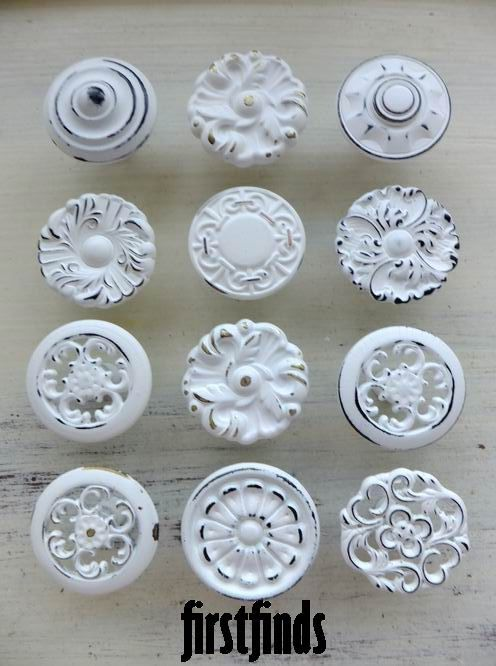 12 Misfit Shabby Chic Kitchen Cabinet Knobs Vintage Reclaimed Hardware Drawer Pulls Vintage White Cupboard Pull. $70.00, via Etsy.