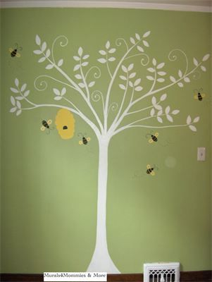 "Bumble Bee Theme Nursery - Modern Style Tree - Client Selected (white) : Windsor, ON  By: Melissa Simpson Grant Murals 4 Mommies & More To Order yours Call or Text (519)-322-8609 Or ""Like"" the Facebook Page ""Murals 4 Mommies & More"" and send a message for more info!"