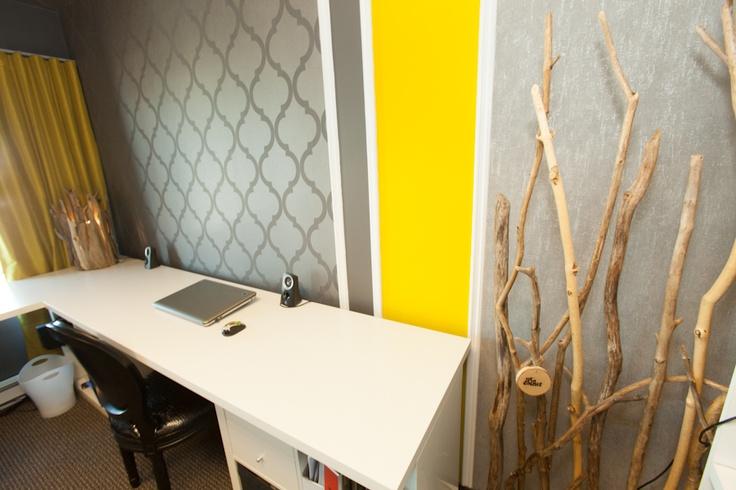 N Design Interieur  My Office #screen #yellow #driftwood  http://www.purcachet.com