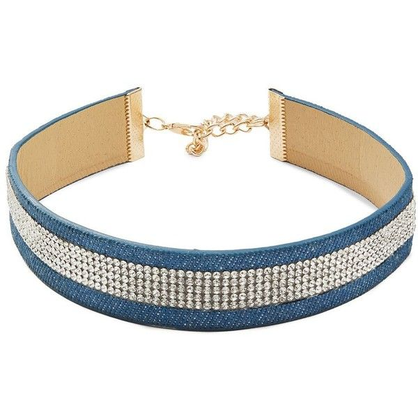 Design Lab Lord & Taylor Stone-Accented Choker Necklace (87 SEK) ❤ liked on Polyvore featuring jewelry, necklaces, denim, stone jewelry, choker necklace, gold tone jewelry, choker jewellery and stone choker