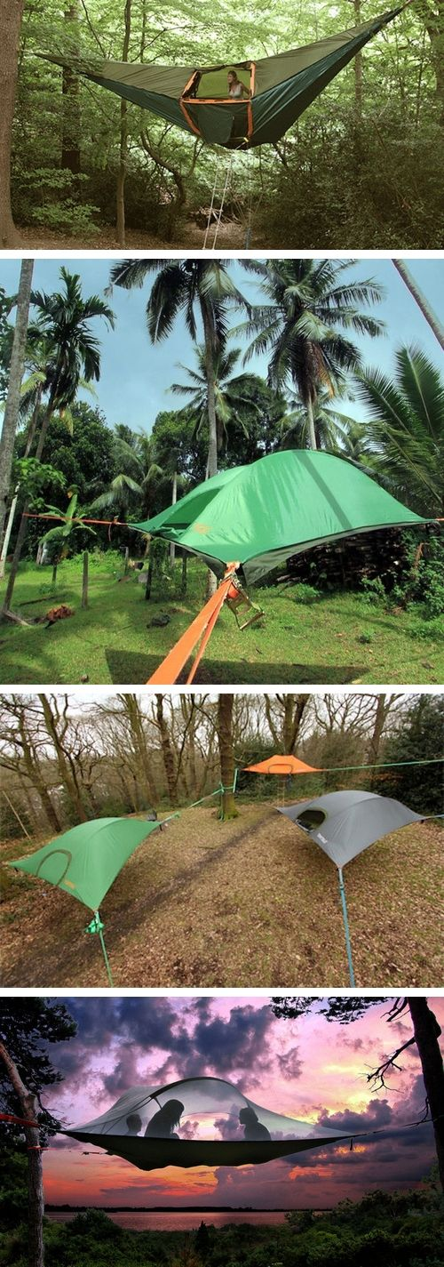 Tree tents made by Tentsile.    For every tent purchased, they plant three trees.  Available on their site, or at REI which offers free U.S. shipping.  They're pricey.  #camping  #outdoors  @Carrah Williams