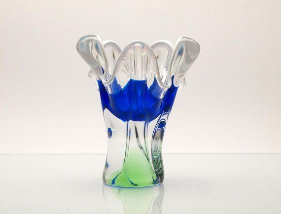 Vintage Bohemian Colorful Art Glass Vase by by BetterLookBack