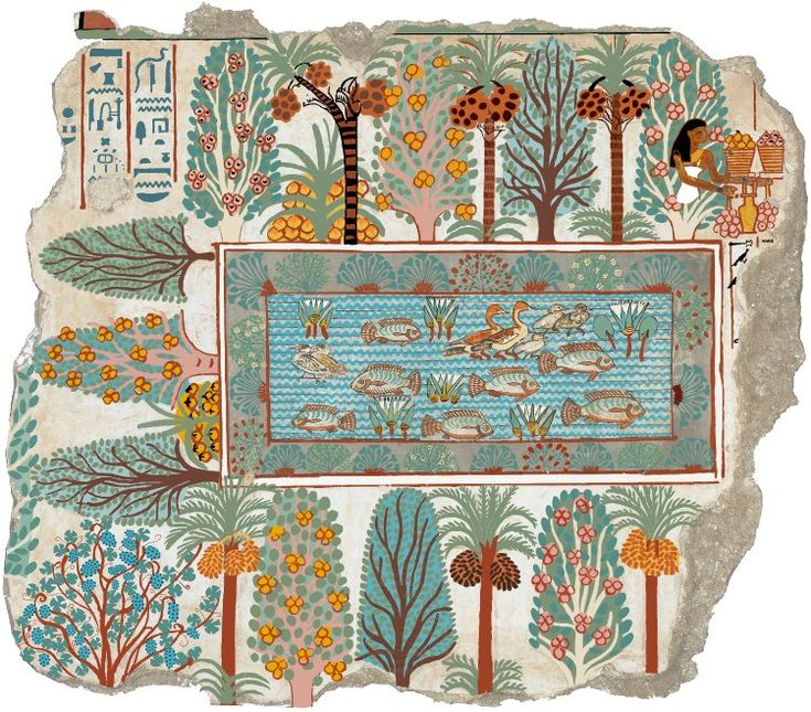 Reconstruction of original colours of a fragment of a polychrome tomb-painting representing the pool in Nebamun's estate garden: date-palms, sycomores and mandrakes hedge the pool which teems with fish and fowl; the goddess of the sycomore, surrounded by her produce, is shown in the top right-hand corner.