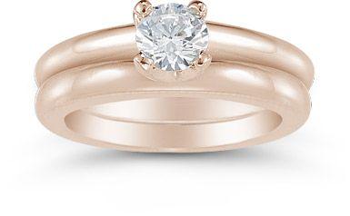 Half Carat Round Diamond Solitaire Engagement Set in 14K Rose Gold
