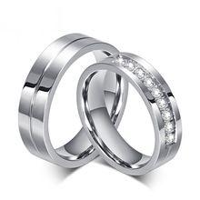Anneaux de mariage Pour Les Femmes En Gros Anneau En Acier Inoxydable 316L CZ…