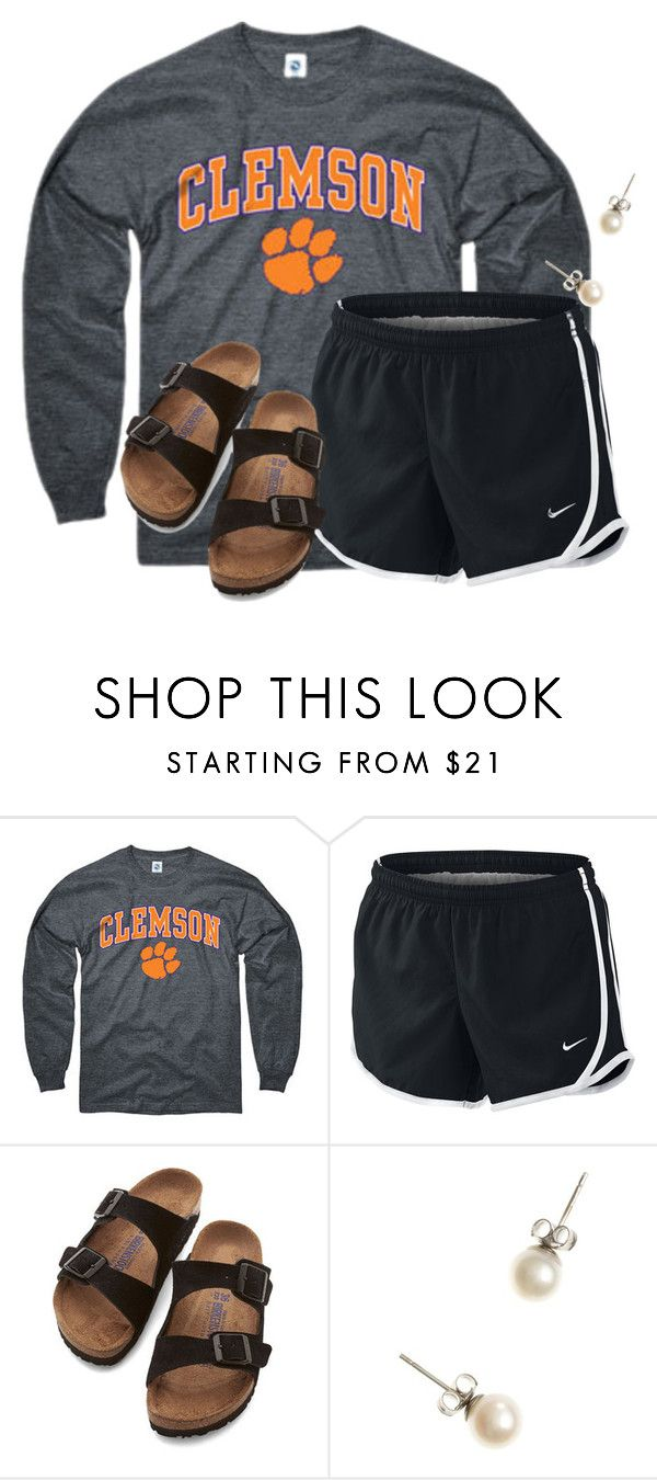 """""""Haha @auburnlady!!"""" by flroasburn on Polyvore featuring NIKE, Birkenstock and J.Crew"""