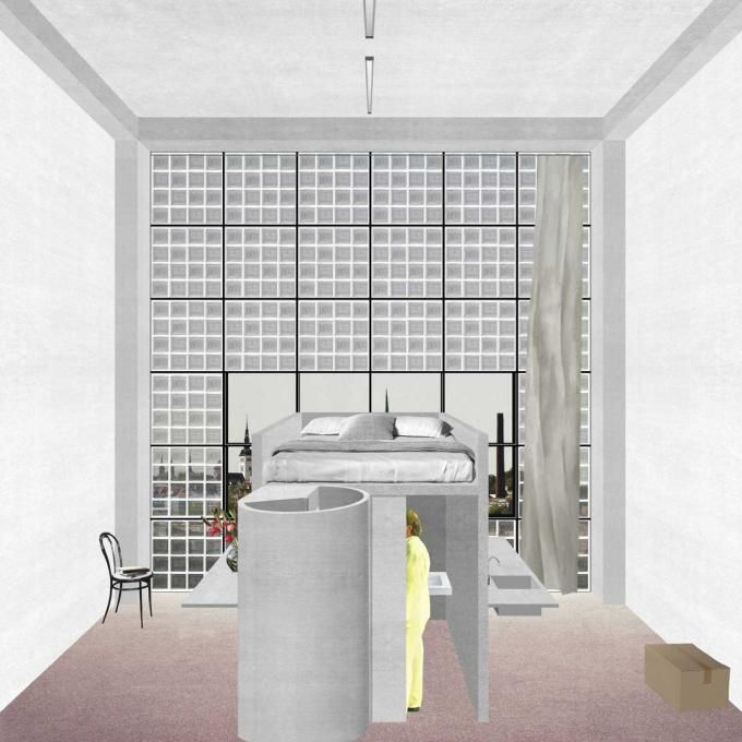 Live Forever: The Return of the Factory. Proposal for a living/working unité d'habitation for 1600 inhabitants at the Balti Station area, Tallinn, 2013, by Pier Vittorio Aureli-DOGMA. Click above to see larger image.