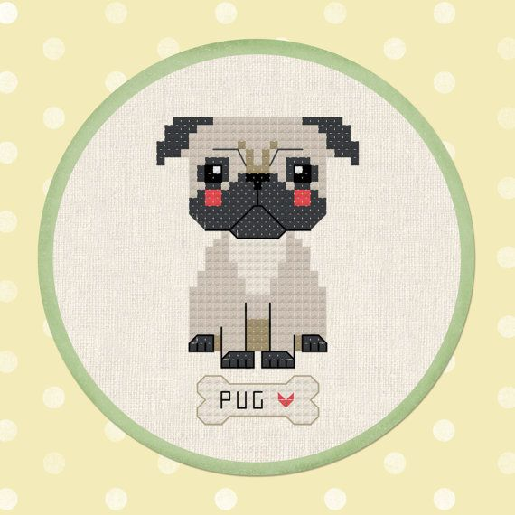 Padrão Bonito do Ponto da Cruz do Cão -  /    Cute Dog Cross Stitch Pattern -