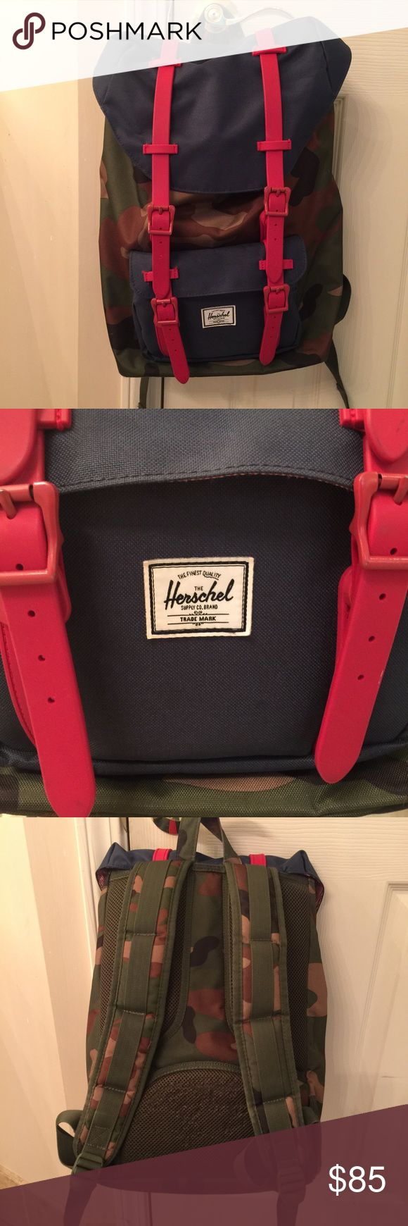 Herschel Camo Backpack Gently used. Price is firm. Please refer to third picture of the back where there is a little bit of wear but won't be seen when you wear it. Clean on the inside. No marks or stains Herschel Supply Company Bags Backpacks