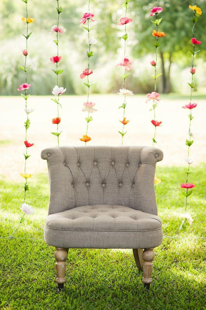 Floral Garland Photo Backdrop from a First Birthday Garden Party via Kara's Party Ideas