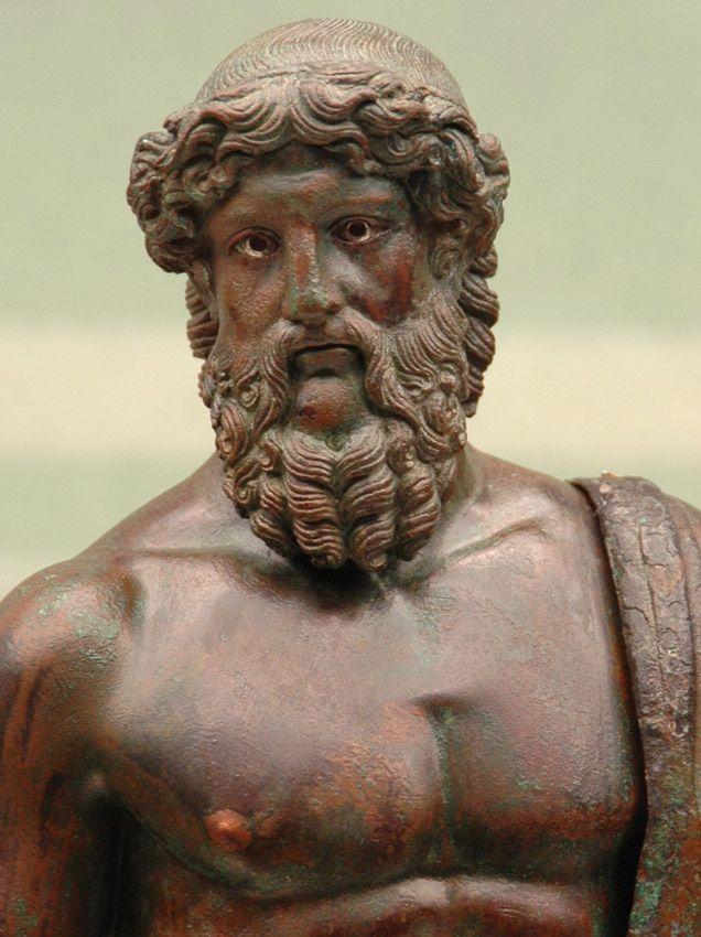 Jupiter (Zeus) - detail, Roman statuette (bronze), 1st century BC - 3rd century AD, (Museo Archeologico Nazionale, Florence).