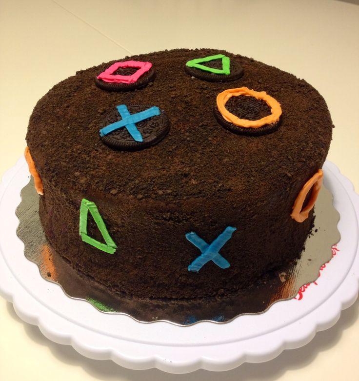 Playstation cake  Chocolate Vanilla coated with Oreo crumbs