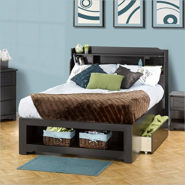 console accent table in charcoal grey with metal base full storage bedbed - Bed Frames With Storage Full