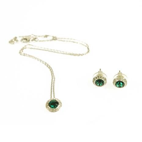 Swarovski Green Crystals Round Necklace and matching Stud Earrings Set in Box