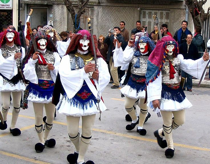 The highlight of the Carnival of Naoussa (in Northern Greece) is the appearance of people disguised as Yianitsari and Boules (Brides).