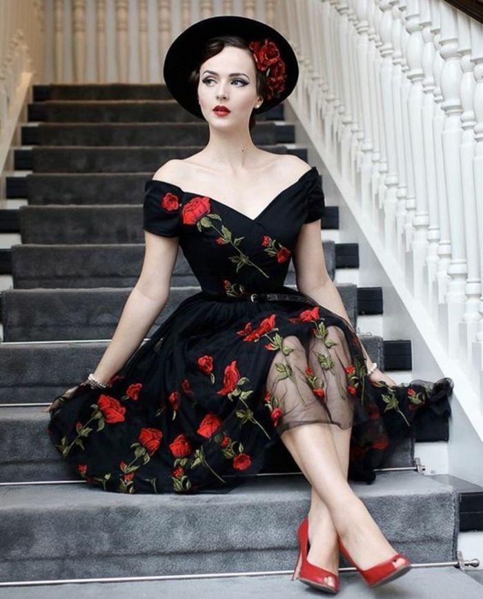 Superbe robe annee 60 vetement vintage femme chic robe fleurie