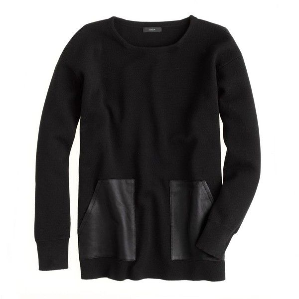 J.Crew Merino leather-pocket sweater (510 RON) found on Polyvore