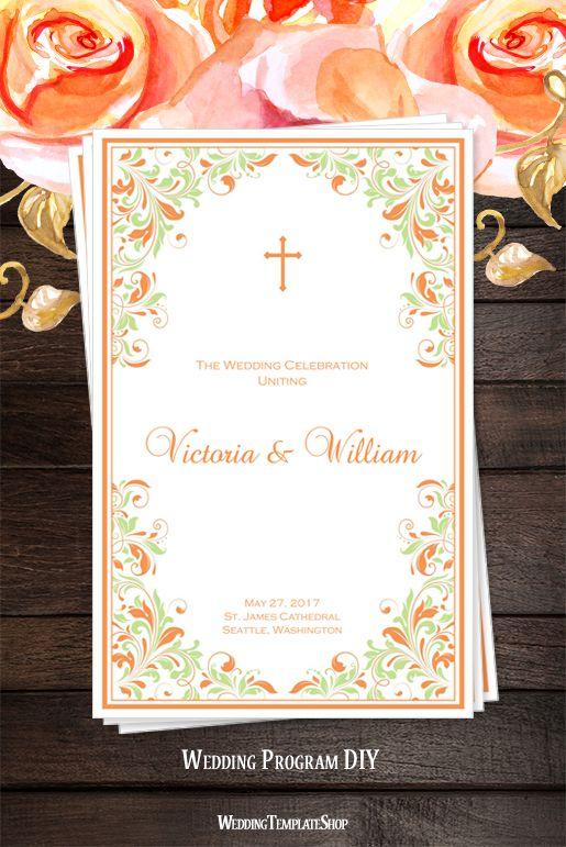 108 best catholic wedding programs diy printable order of service catholic church wedding program kaitlyn peach mint green pronofoot35fo Images