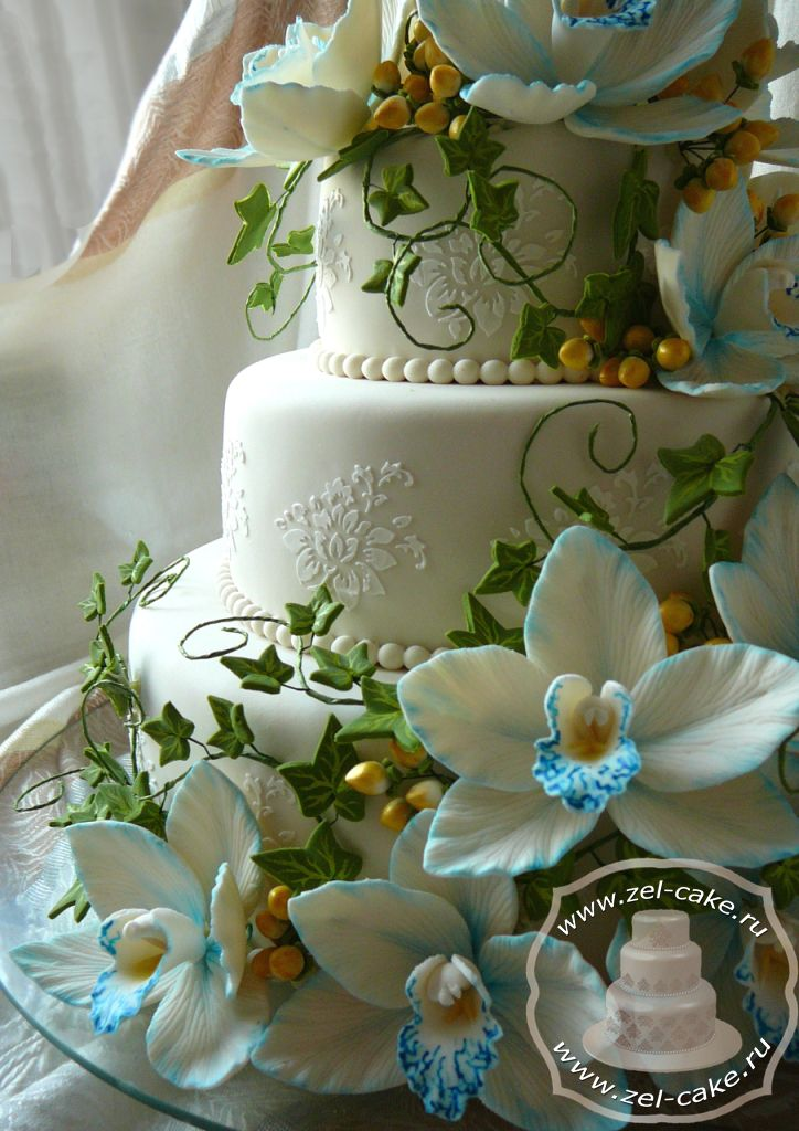 Свадебный торт Голубые орхидеи