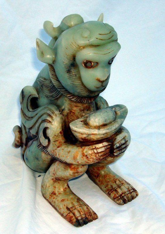 Antique Chinese Jade Monkey King Sculpture Sun Wukong