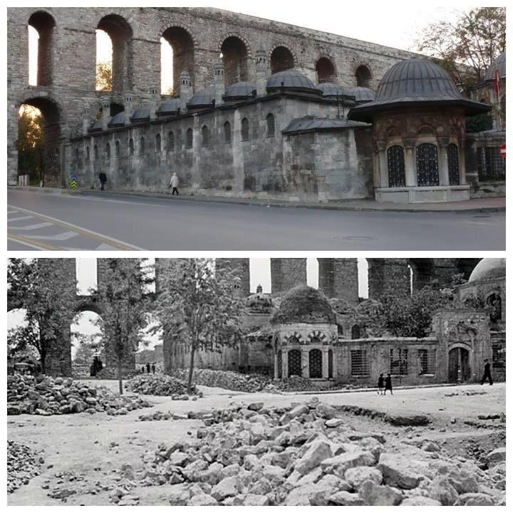 Unkapanı / Atatürk Bulvarı - 1937 ve Günümüz. gazanfer ağa medresesi .Paylaşım için Sn. Osman Bahadır bey'e teşekkür ederiz.