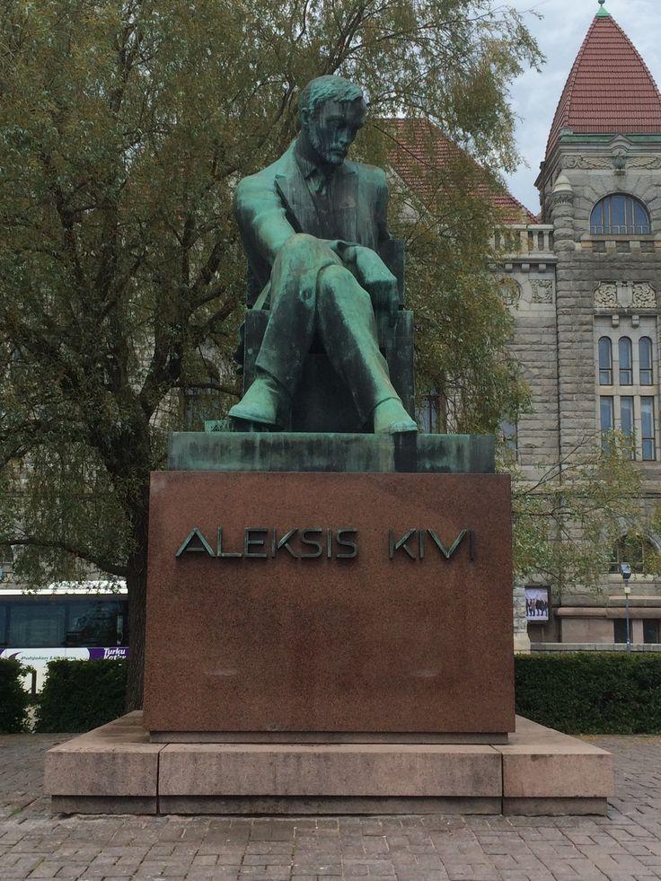 Statue of Finnish author Aleksis Kivi in front of the Finish National Theatre in Helsinki. #travel #finland #scandinavia #europe #helsinki #suomi #sculpture #literature #nordic
