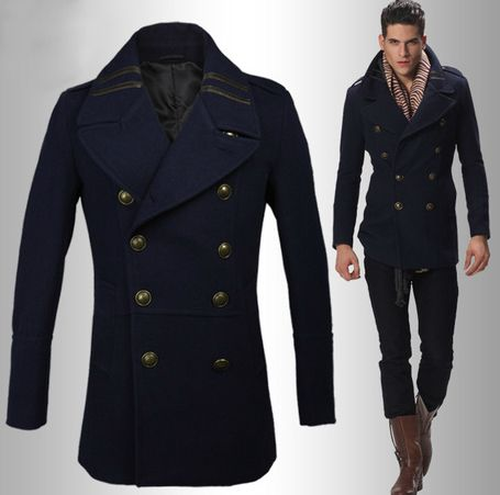 Navy Blue London Style Mens Wool Double Breasted Pea Coat http