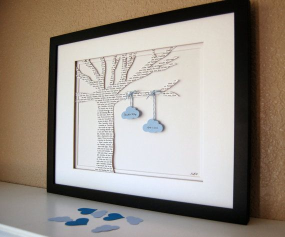 Baby Gift, Personalized Lyric Tree -  New Baby Lullaby, Children's Nursery Rhyme, Unique Baby Shower Gift, Nursery Decor