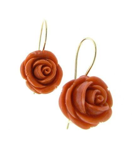 Coral earrings Rose - Dogale Jewellery Venice Italia www.veneziagioielli.com