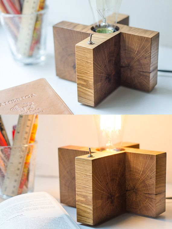 wooden lamp X1 handmade. light oak desk lamp. wood lamp. by dtchss
