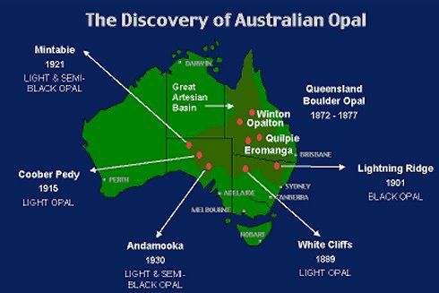 The principal sedimentary Opal occurences in Australia are found within the Region of the Great Artesian Basin (dark green area) https://www.facebook.com/opalsinformation/