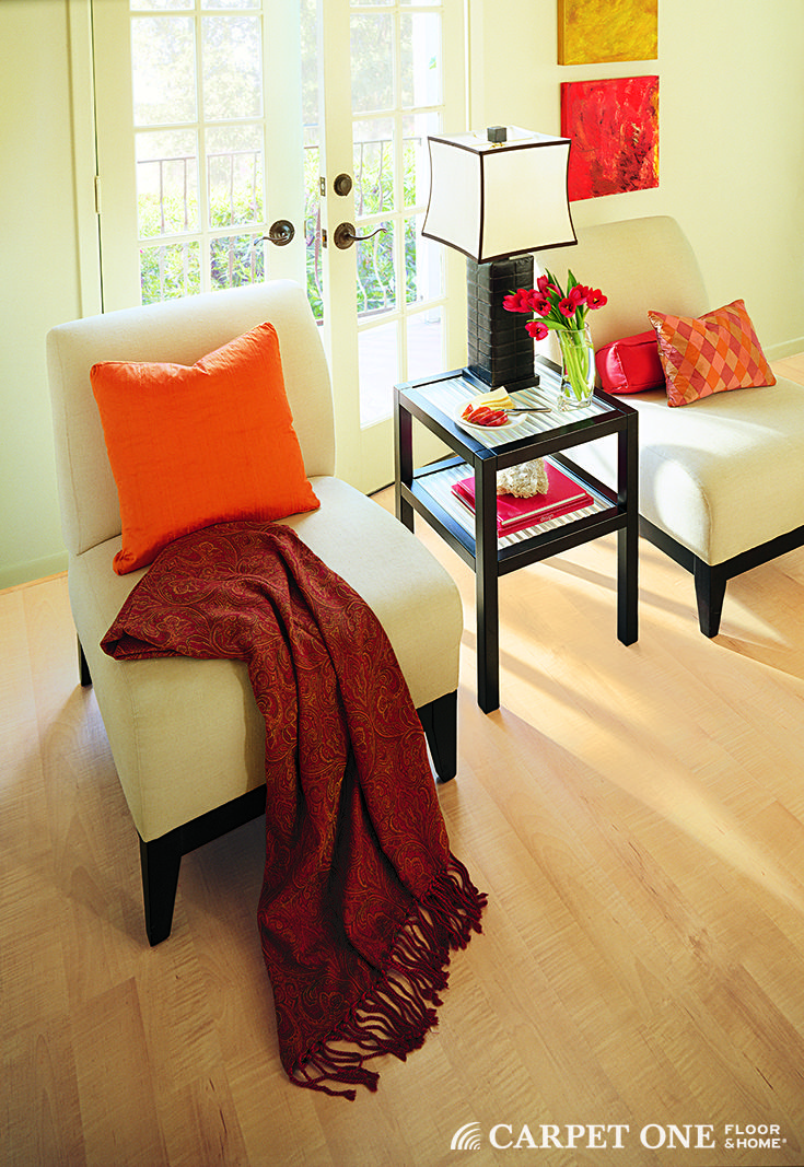 Orange adds a great pop of color against a neutrals.