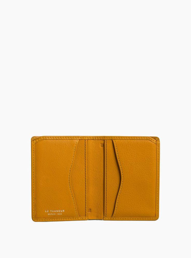Porte cartes valentine anti rfid cuir de vachette pleine fleur jaune - femme - le tanneur 3