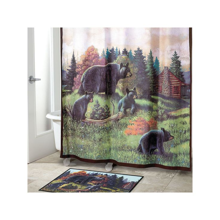 Avanti Black Bear Lodge Fabric Shower Curtain, Multicolor
