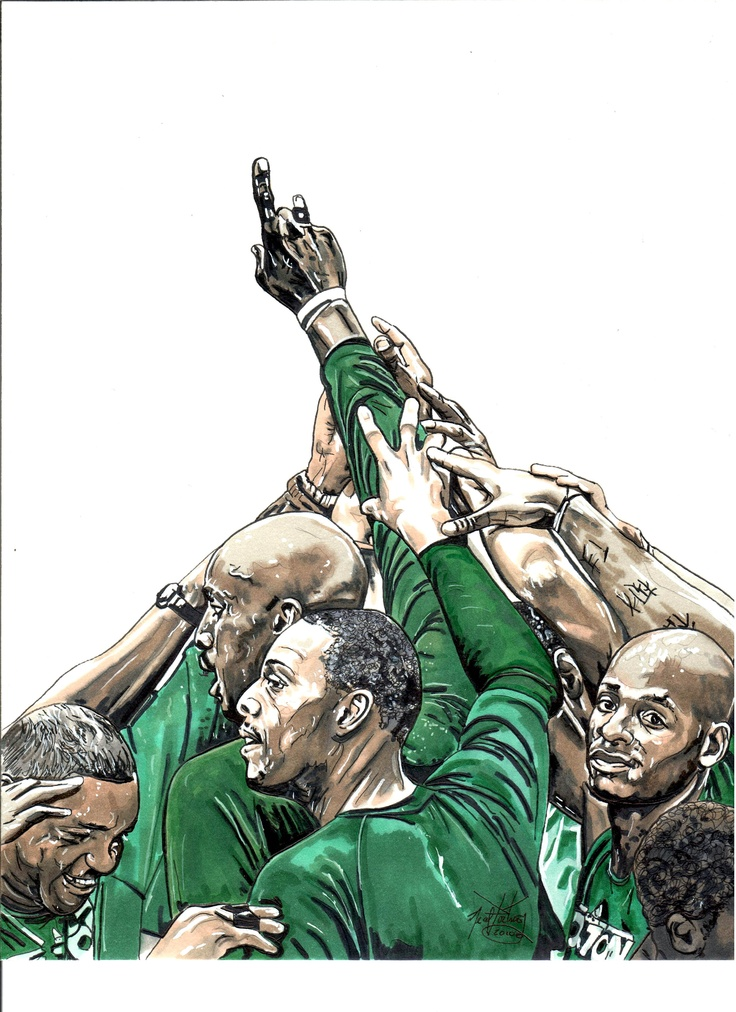 "This is an illustration I did of Boston Celtics palyers Kevin Garnett, Paul Pierce, Ray Allen and coach ""Doc"" Rivers.  Illustration titled ""UBUNTO"", and done in markers."