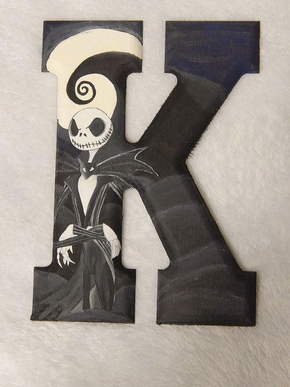 Nightmare Before Christmas Jack Skellington Custom Wooden Letters Wood Pattern Hanging Wall Art Nursery Name Letters