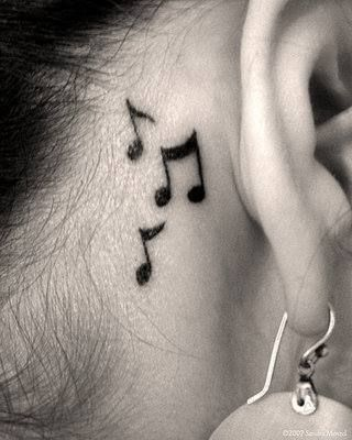 Small music notes tattoo on neck | Tattoos (Ideas and ...