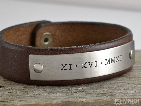 Roman Numeral Bracelet Leather Mens Handmade Deep Engraved With A Date Or Any Custom Message Of Your Choice