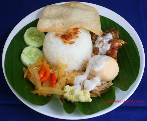 Nasi Liwet~ Usually rice processed with coconut milk and served with chicken, egg, and spicy broth.