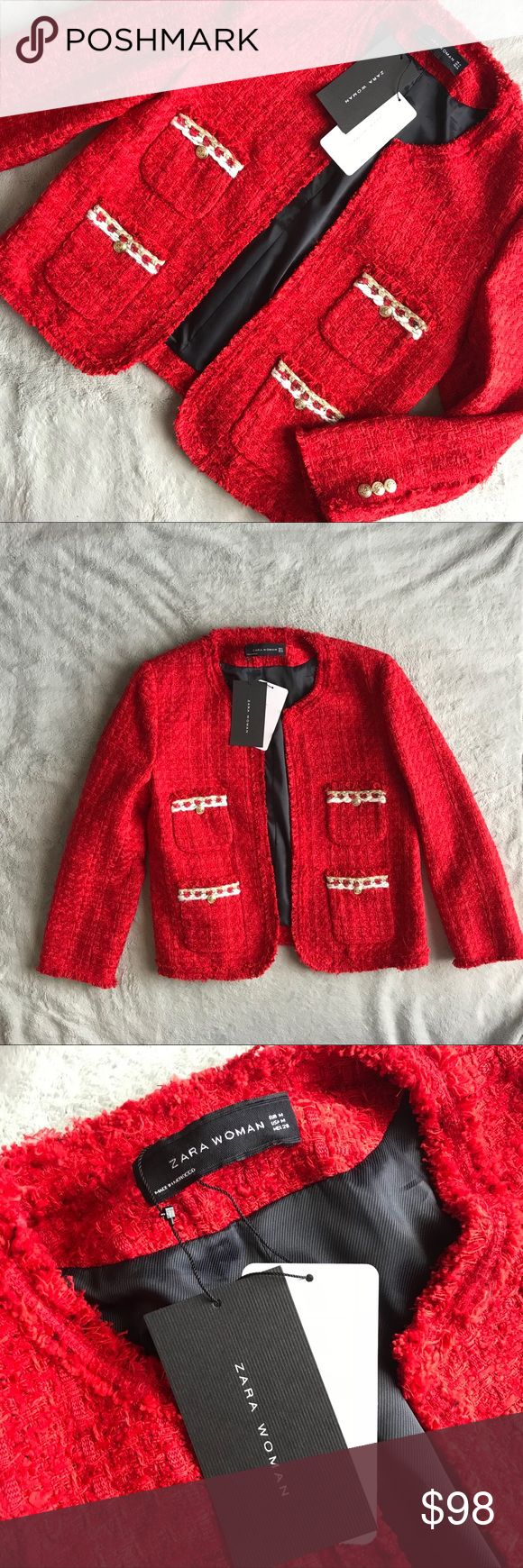 NWT Zara Tweed Boucle Blazer Jacket Red Gold Brand new, never worn. Tweed boucle style jacket by Zara in vibrant red with gold and white detailing. From 2016 collection, hard to find. Blazer silhouette with boxy structured shoulders and a feminine fit. Double front pockets accented with gold & white trim and a decorative gold button. Fully lined. Note: minor wear from storage typical to this fabric. Size medium, see photos for measurements. Zara Jackets & Coats Blazers