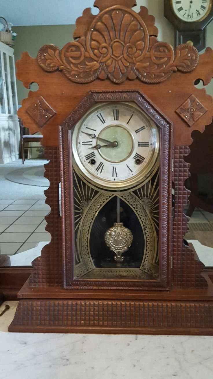 Ingraham clock after  cleaning and waxing with Briwax clear and 0000 steel wool.  Can see wood grain now but will need more work on waffle pattern on sides and bottom.  Years of soot. Ugh